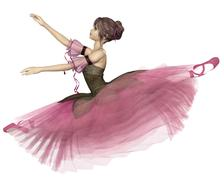 Pink Flower Ballerina Leaping - stock illustration