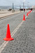Row of Traffic cone in the road - stock photo