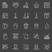 Cleaning thin line icons Stock Illustration