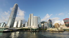 Hong Kong skyline from riverside - stock footage