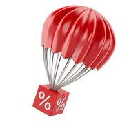 3d parachute with discount sign. Sale concept Piirros