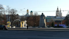 A monument to Karl Marx and in 2016 in Moscow Stock Footage