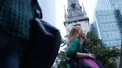 London City architecture with people - stock footage