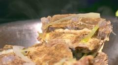 Bones meat are smoking hot food Stock Footage