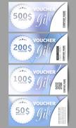 Stock Illustration of Set of modern gift voucher templates. Winter design, abstract blue background