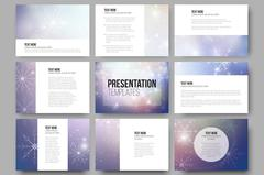 Stock Illustration of Set of 9 templates for presentation slides. Blue abstract winter background