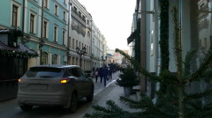 Winter Street in Moscow in December 2015 Stock Footage