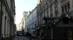 Winter Street in Moscow in December 2015 - stock footage