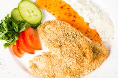 Breaded chicken cutlets - stock photo