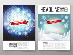 Set of business templates for brochure, flyer or booklet. Merry Christmas and - stock illustration