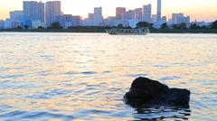 Sunset sky odaiba harbor tokyo japan Stock Footage