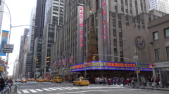 Radio City Music Hall Decorated for Christmas  	 Stock Footage