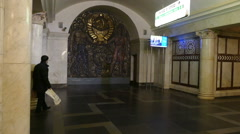 Metro Paveletskaya Inside (the Coat USSR) Stock Footage