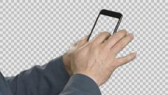 Businessman flipping page in a smartphone. Stock Footage