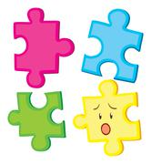 Jigsaw puzzle in four pieces - stock illustration