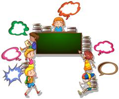 Children reading books and writing on board - stock illustration