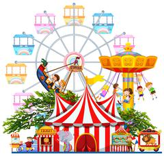 Amusement park scene with many rides - stock illustration