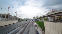 Top view of urban transport traffic on Begovaya street timelapse hyperlapse Stock Footage