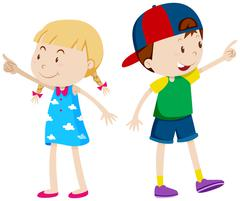 Girl pointing left and boy pointing right Stock Illustration