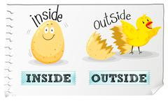 Opposite adjectives inside and outside - stock illustration