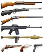 Different kind of fireguns - stock illustration
