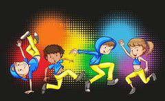 Children doing hip hop dance - stock illustration