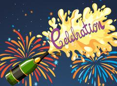 Celebration night with firework and champagne - stock illustration