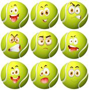 Tennis ball with facial expression - stock illustration