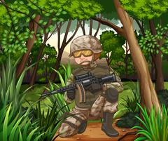 Soldier with gun in the jungle - stock illustration