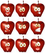 Red apple with facial expression - stock illustration