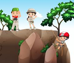 Girl and boys climbing up the mountain - stock illustration