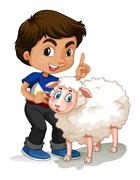 Little boy and sheep - stock illustration