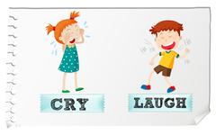 Opposite adjectives cry and laugh - stock illustration