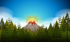 Volcano eruption scene at daytime Stock Illustration