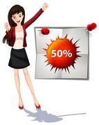 Woman and promotion sign - stock illustration