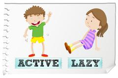 Opposite adjectives active and lazy - stock illustration