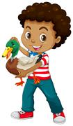 African american boy holding a duck Stock Illustration