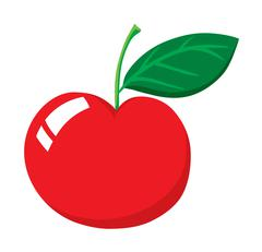 Fresh red cherry with stem - stock illustration