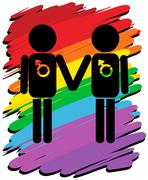 Homosexual love with rainbow background - stock illustration