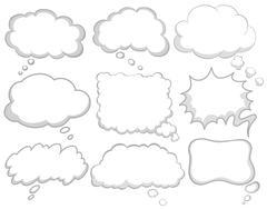 Different design of dream bubbles - stock illustration