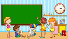 Children learning in the classroom - stock illustration
