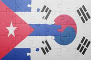 Stock Photo of puzzle with the national flag of cuba and south korea