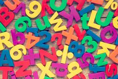 Colorful numbers and alphabet letters - stock photo