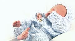 Little Baby Boy In Blue Stock Footage