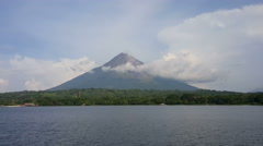 View on vulcano Concepion from the ferry Stock Footage