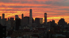 NYC Skyline with Freedom Tower at Sunset Zoom Out Stock Video - stock footage