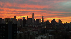 NYC Skyline at Sunset Zoom in to World Trade Center Stock Video - stock footage