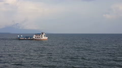 View on vulcanoes Concepion and Maderas from the ferry Stock Footage