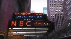 Snowing In NYC Christmas NBC Studios 30 Rock Building 4K Stock Video Stock Footage