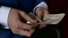 Man business man counts money Russian ruble Stock Footage